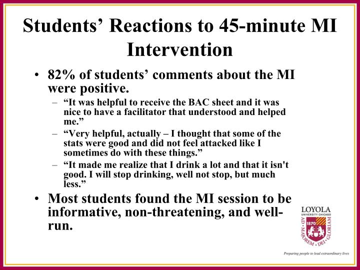 Students' Reactions to 45-minute MI Intervention