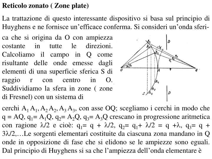 Reticolo zonato ( Zone plate)