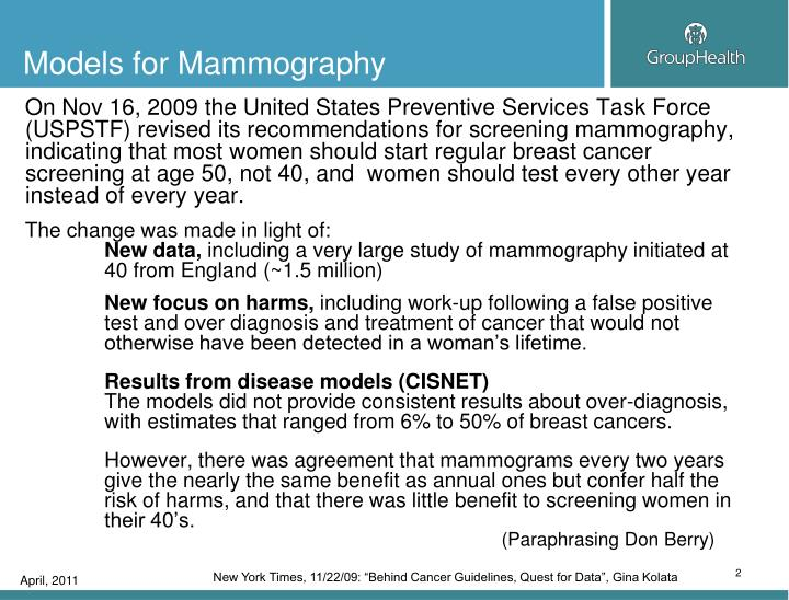 Models for Mammography