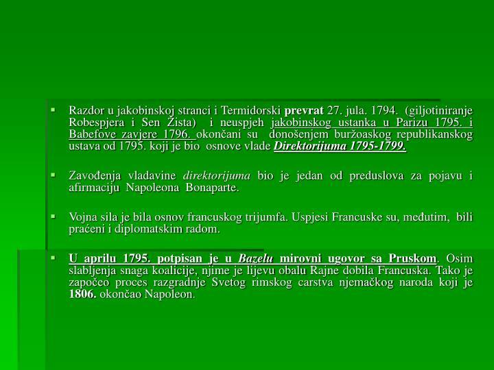 Razdor u jakobinskoj stranci i