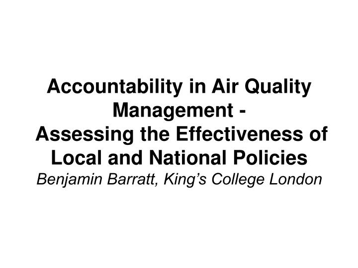 Accountability in Air Quality Management -