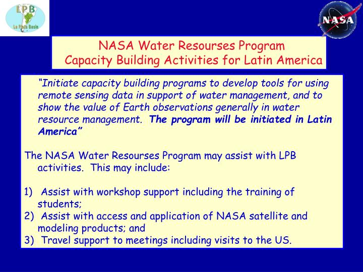 NASA Water Resourses Program
