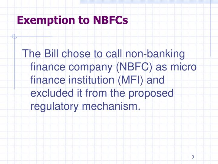 Exemption to NBFCs