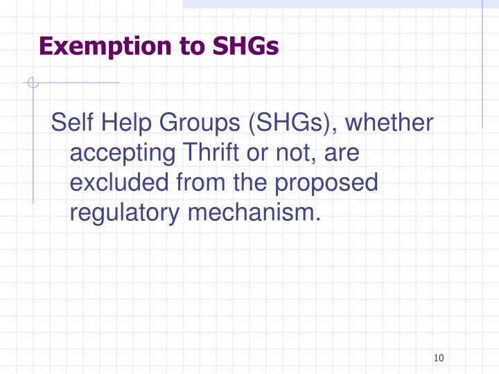 Exemption to SHGs