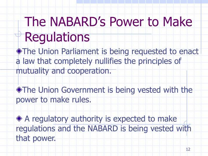 The NABARD's Power to Make Regulations