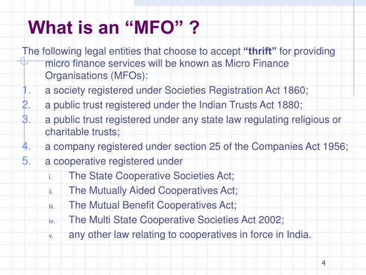 """What is an """"MFO"""" ?"""