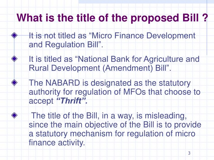 What is the title of the proposed Bill ?