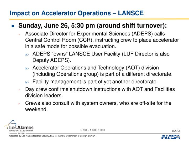 Impact on Accelerator Operations – LANSCE