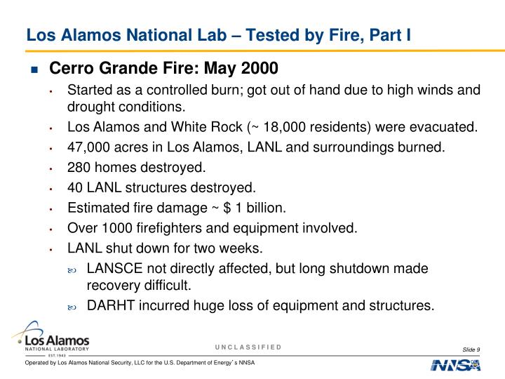 Los Alamos National Lab – Tested by Fire, Part I