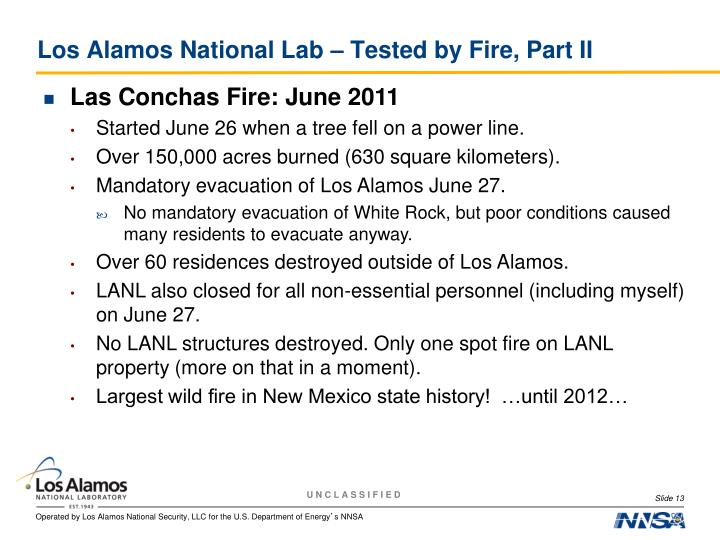 Los Alamos National Lab – Tested by Fire, Part II