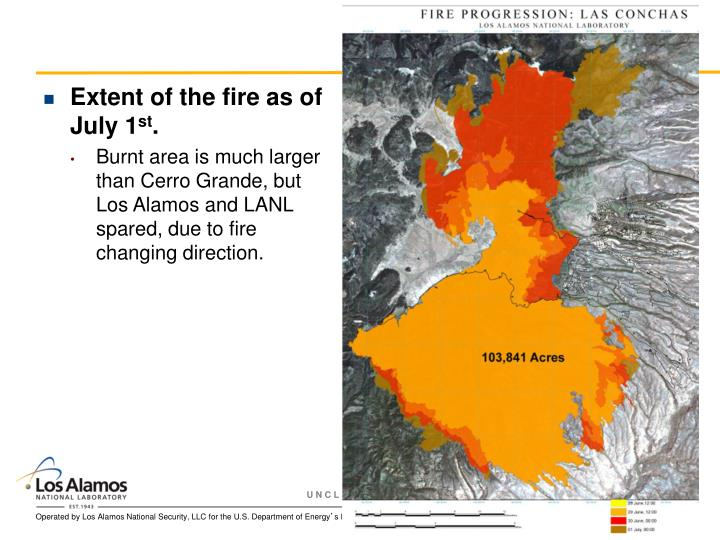 Extent of the fire as of July 1