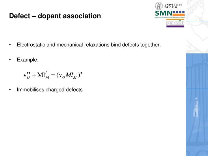 Defect – dopant association