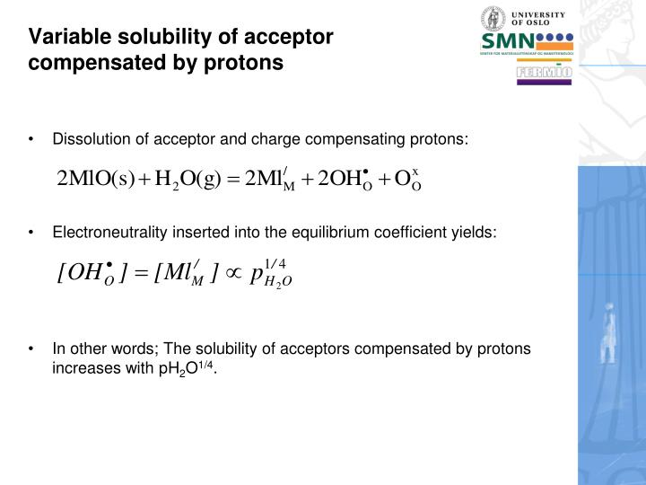 Variable solubility of acceptor compensated by protons
