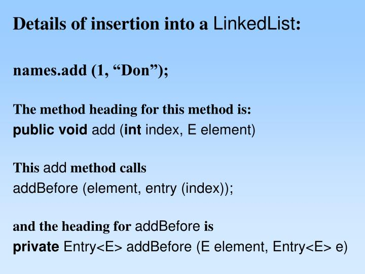 Details of insertion into a