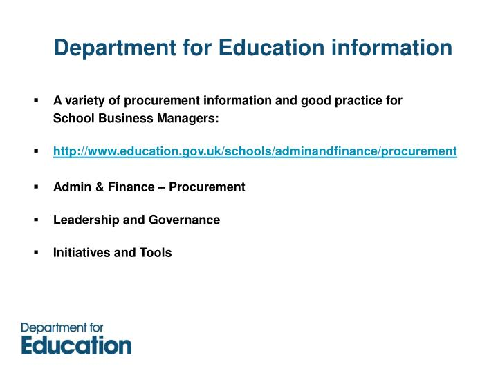 Department for Education information