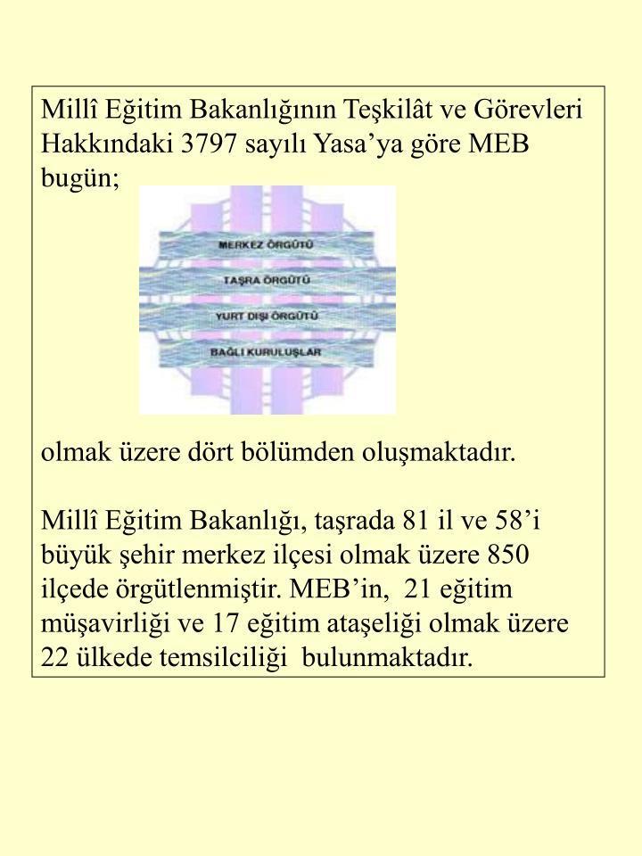 Mill Eitim Bakanlnn Tekilt ve Grevleri Hakkndaki 3797 sayl Yasaya gre MEB bugn;
