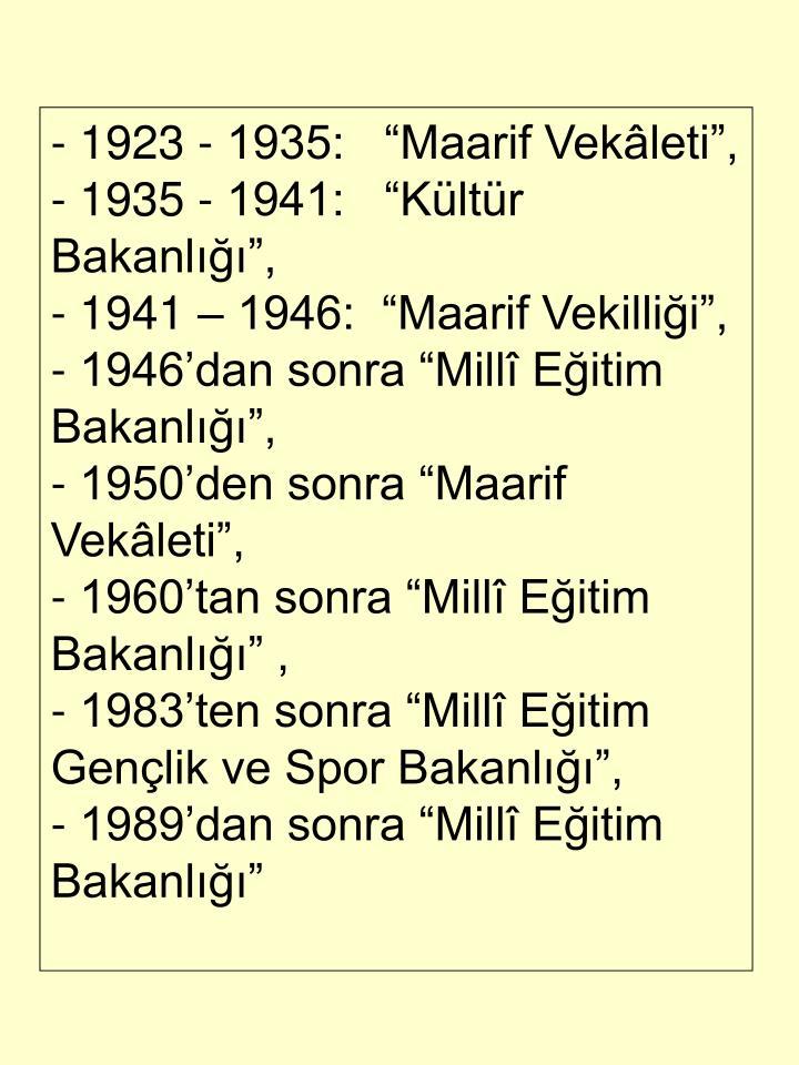 - 1923 - 1935:   Maarif Vekleti,