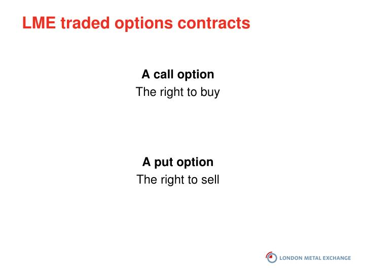LME traded options contracts