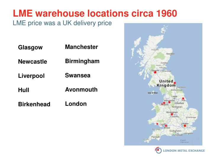 LME warehouse locations circa 1960