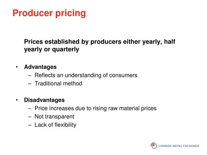 Producer pricing