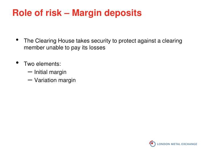 Role of risk – Margin deposits