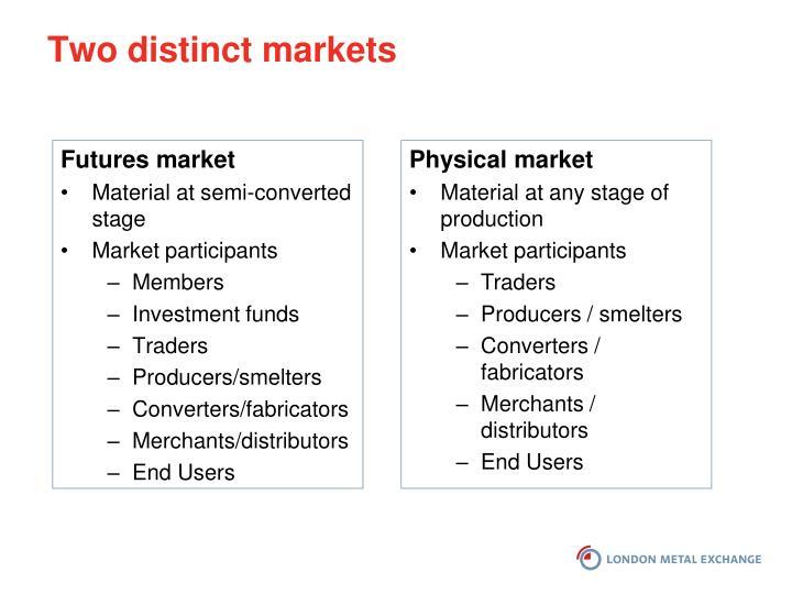 Two distinct markets