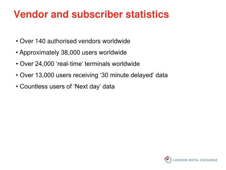 Vendor and subscriber statistics