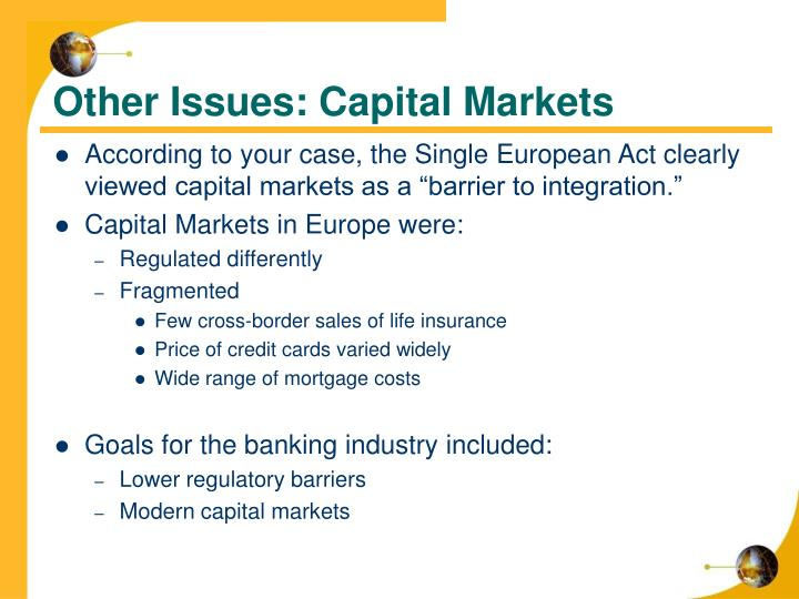 Other Issues: Capital Markets