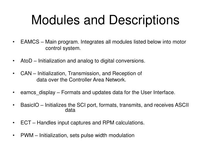 Modules and Descriptions