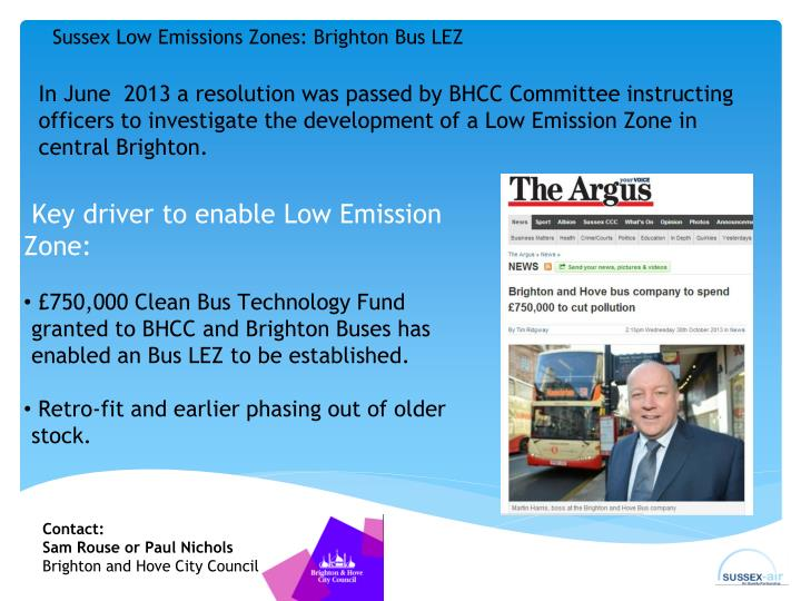 Sussex Low Emissions Zones: Brighton Bus