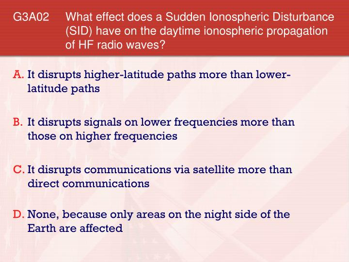 G3A02 	What effect does a Sudden Ionospheric Disturbance (SID) have on the daytime ionospheric propagation of HF radio waves?