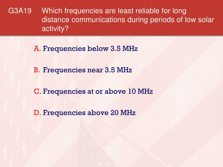 G3A19 	Which frequencies are least reliable for long distance communications during periods of low solar activity?