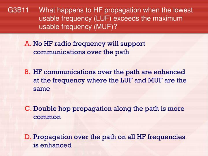 G3B11 	What happens to HF propagation when the lowest usable frequency (LUF) exceeds the maximum usable frequency (MUF)?