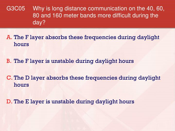 G3C05 	Why is long distance communication on the 40, 60, 80 and 160 meter bands more difficult during the day?