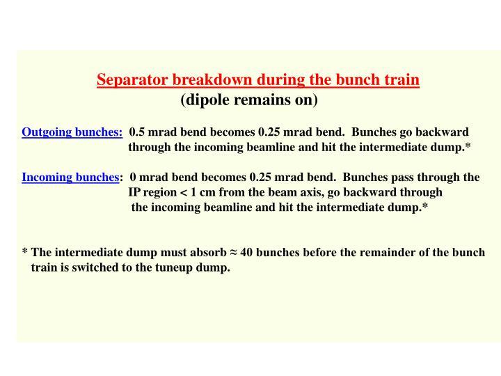 Separator breakdown during the bunch train