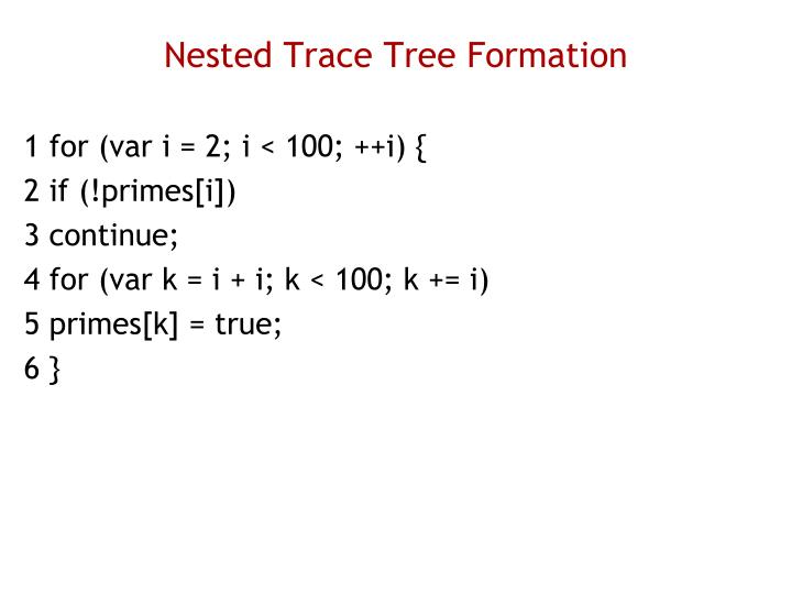 Nested Trace Tree Formation