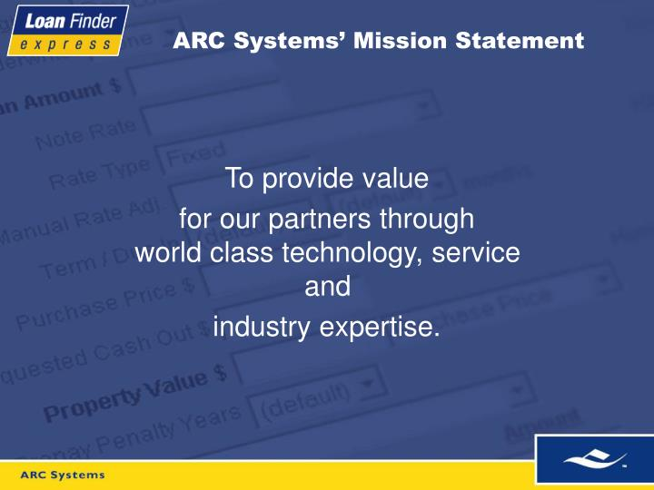 ARC Systems' Mission Statement