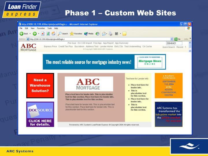 Phase 1 – Custom Web Sites
