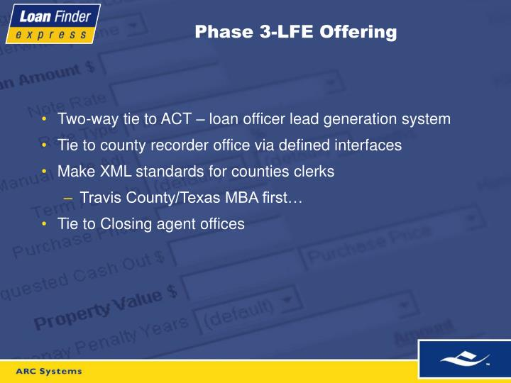 Phase 3-LFE Offering