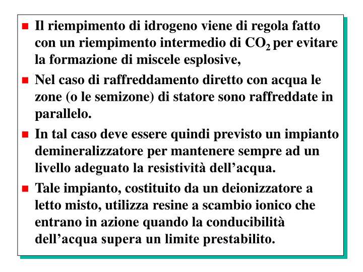 Il riempimento di idrogeno viene di regola fatto con un riempimento intermedio di CO