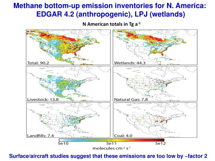 Methane bottom-up emission inventories for N. America: