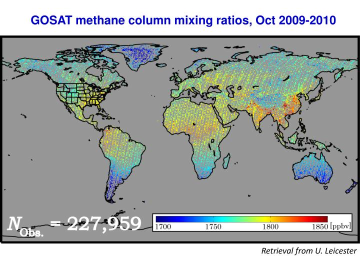 GOSAT methane column mixing ratios, Oct 2009-2010