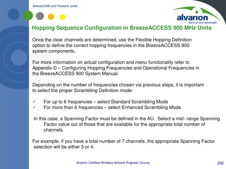 Hopping Sequence Configuration in BreezeACCESS 900 MHz Units