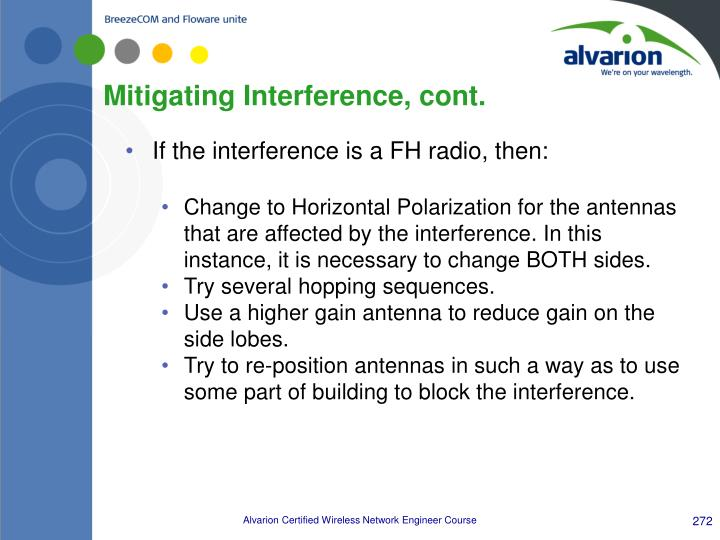 Mitigating Interference, cont.