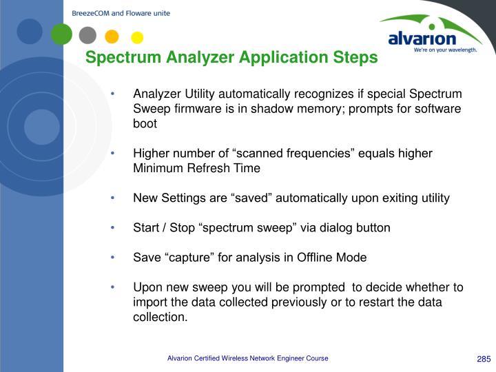 Spectrum Analyzer Application Steps