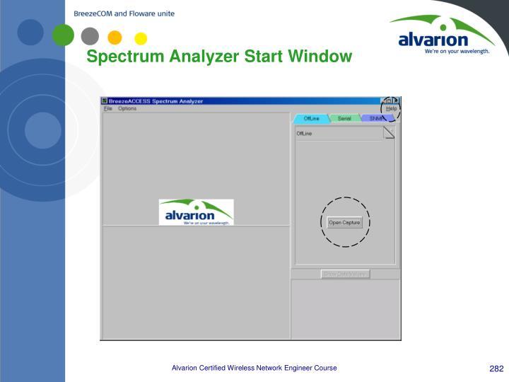 Spectrum Analyzer Start Window