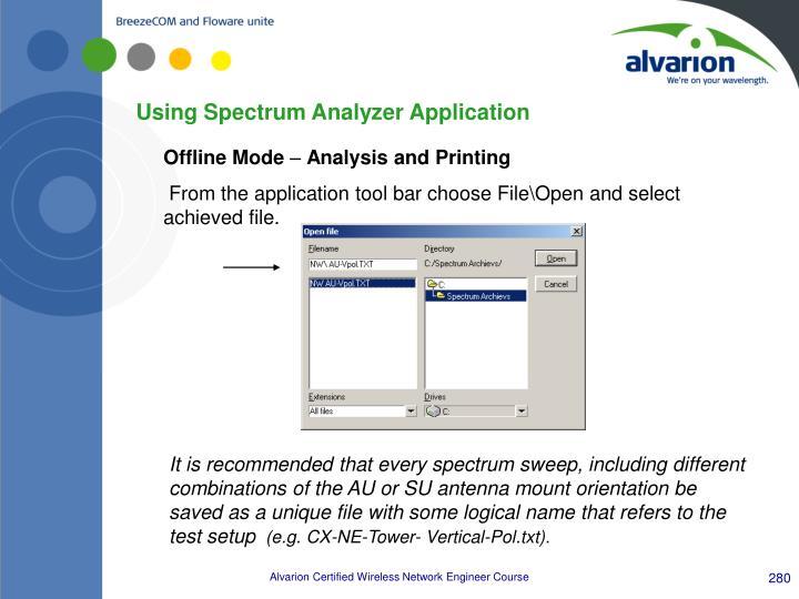 Using Spectrum Analyzer Application