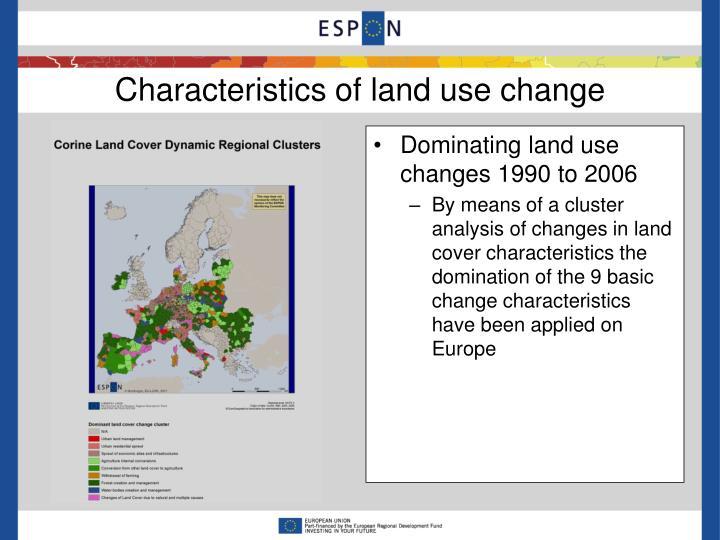 Characteristics of land use change