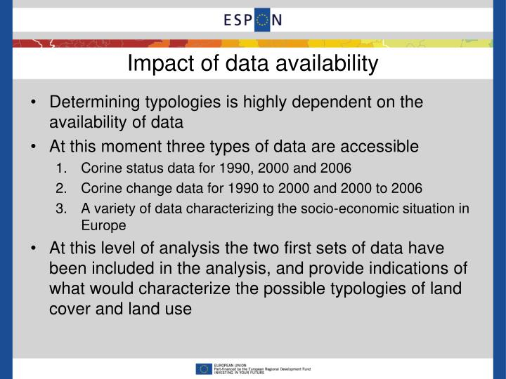 Impact of data availability