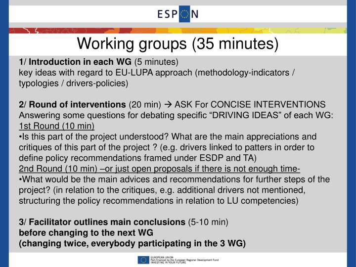 Working groups (35 minutes)